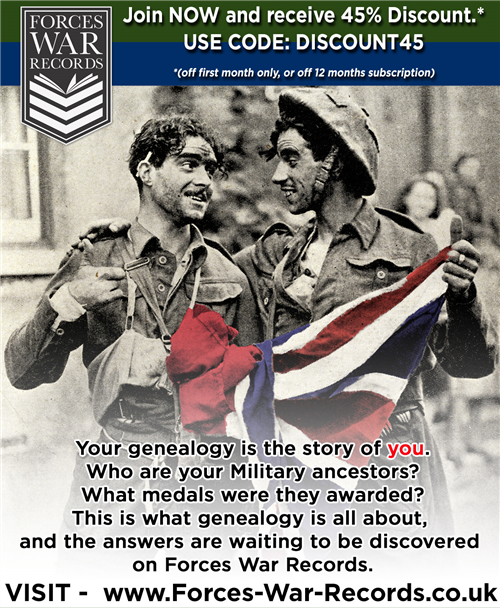 forces-war-records.co.uk - 45% off subscriptions to Forces War RecordsForces War Records is the website to visit for those researching their family's military history.  Specialising only in military history, the genealogy site contains over 25+ million records.