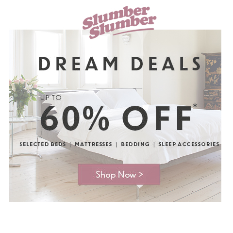 slumberslumber.com - Up to 60% off across selected beds, mattresses, bedding and sleep accessories in January Dream Deals Now On