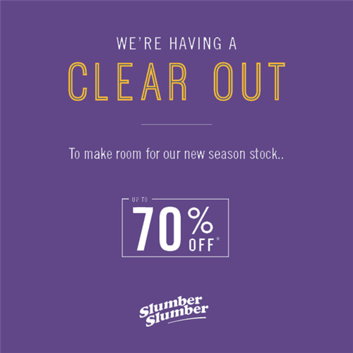slumberslumber.com - We're having a clear-out to make way for new season stock. Up to 70% off clearance lines, but only while stocks last