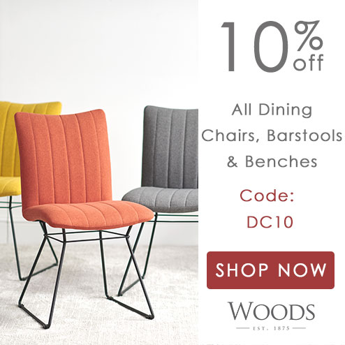 woods-furniture.co.uk - Get 10% off a huge selection of dining chairs, bar stools and benches. Perfect in time for the party season!