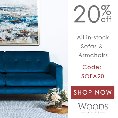 woods-furniture.co.uk - Get 20% off a great selection of in-stock sofas and armchairs to suit every home with code SOFA20