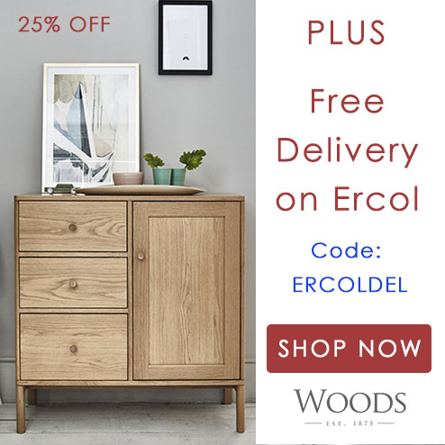 woods-furniture.co.uk - We are ALREADY promoting Ercol at 25% off. This code gives you FREE DELIVERY in addition to the promo discount.